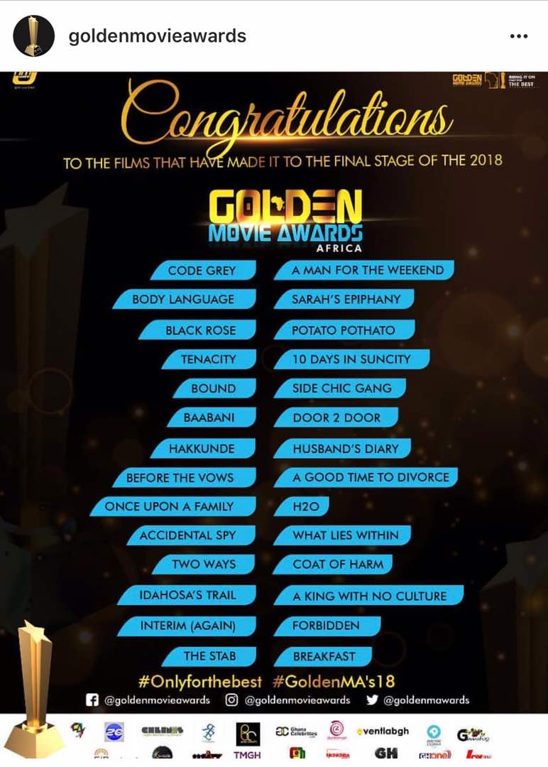 Golden Movie Awards Nominees