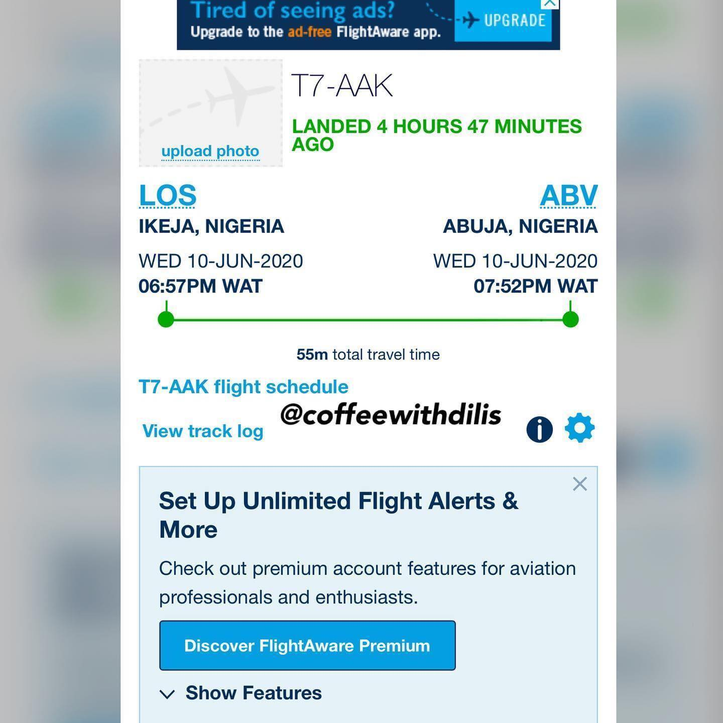 Esaw Dilis Gist Proof for Fake Private Jet Flight By Syndy Emade