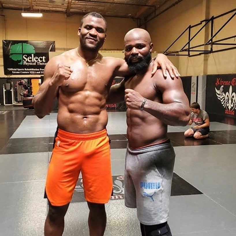 Carlos Takam and Francis Ngannou after a training Session