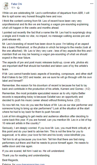 Fabz Chi Response To Mr. Leo's Breakup From Alphabetter Records