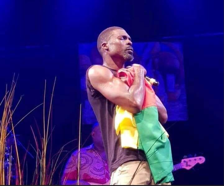valsero with the Cameroon Flag at a concert