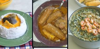 Top Traditional Cameroon Foods (Left to Right, Achu, Kondre, Ndole)