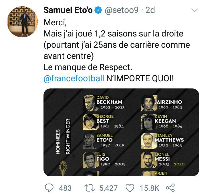 Samuel Eto'o lambast Ballon d'Or