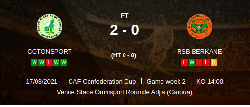 CotonSport vs RSB Berkane caf confederation result