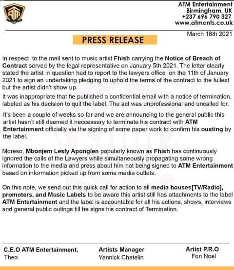 Press Release - ATM Entertainment