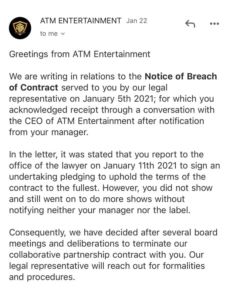 Email From ATM Entertainment to Fhish